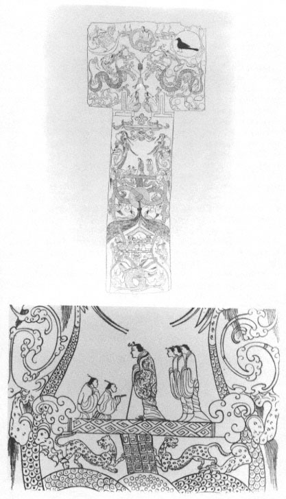 Line Drawing Of The Painted Silk Banner From Tomb No 1 At Mawangdui Changsha Hunan Province And Detail Vertical Section Length