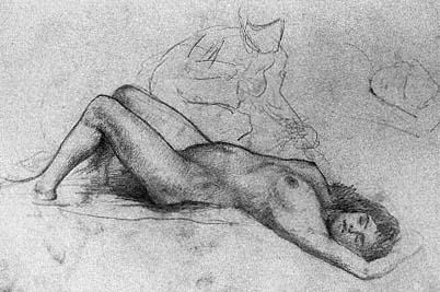 Devil OPTICAL ILLUSION nude female metamorphic art sketch drawing print photo
